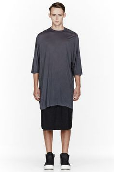 Rick Owens Grey Oversize T-shirt for men   SSENSE
