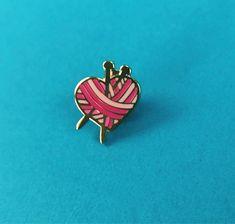 yarn heart - knitting lover hard enamel pin by DreamSodaPins on Etsy
