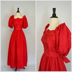 1970s Red Party Dress Formal Gown