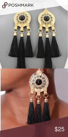 Black Boho Tassel Earrings Brand new! Gorgeous bohemian statement shoulder sweep earrings. They feature 3 tassels and crystal embellishments. Approximately 6 inches long. Made of gold matte. Lead and nickel compliant. Please no holds, trades, or pp. Price is FIRM unless bundled. Thank you! Faith and Sparkle Jewelry Earrings