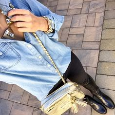 Chambray. Black skinny jeans. Stuart weitzman 5050 over the knee boots. Tory Burch thea cross-body bag.