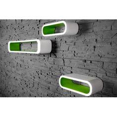 Retro design floating shelves in white and green 3pcs wooden shelving unit - www.neofurn.co.uk
