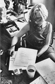 Madison Avenue, October 1969. Sandy Kiersky, media director for Trahey/Wolf advertising and her fantastic eyeglasses.