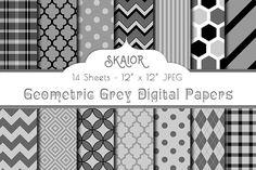 Grey Gray Geometric Digital Papers @creativework247