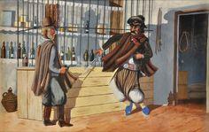 """MOLINA CAMPOS, Florencio Argentino 1891-1959 """"DISPARE DEBAJO EL PONCHO"""" Témpera sobre papel. Sin firma. Medidas: Alto 18.5 cm. Ancho 28.5 cm. ZURBARAN, Buenos Aires. Etiquetas al dorso. Expuesta en Hotel Alvear, ABRA, Julio 1996. Reproducida en el libro """"LA TIERRA PURPUREA"""" de Guillermo Hudson. Zurbaran ediciones, año 1996, pág. 159."""