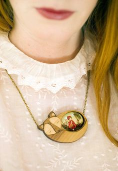 Wooden Jewels Featuring Tiny Scenes of Famous Fairy Tales