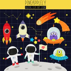 Cute Outer Space clip art set on Etsy!