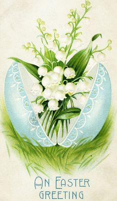 {Vintage Easter postcard with Lily of the Valley} So sweet. {Vintage Easter postcard with Lily of the Valley} Easter Art, Easter Crafts, Easter Bunny, Vintage Greeting Cards, Vintage Postcards, Decoupage, Art Carte, Easter Pictures, Easter Parade