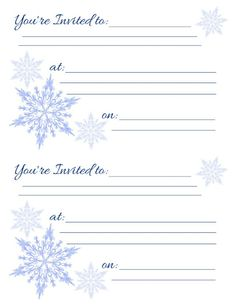 free printable holiday invitations with a snowflake theme for winter parties