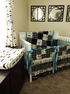 Mustache Chevron Crib Bedding Set Aqua by KLBaby on Etsy, $350.00