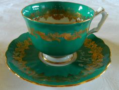 AYNSLEY EMBOSSED GREEN Gold  FANCY TEA CUP TEACUP AND SAUCER  ENGLAND VINTAGE