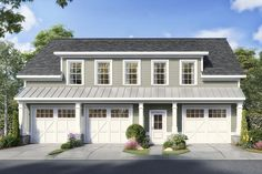 This garage apartment / carriage house plan gives you parking for the vehicles in a split parking arrangement that allow Garage House, Man Cave Garage, Carriage House Garage, Dream Garage, 3 Car Garage Plans, Garage Apartment Plans, Garage Apartments, 3 Bedroom Garage Apartment, Garage Ideas