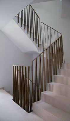 BLGP, Multi-Family House, Hochdorf, 2016 www.ch/ More . Staircase Handrail, Iron Staircase, Metal Stairs, Staircase Remodel, Staircases, Staircase Ideas, Banisters, External Staircase, Modern Railing