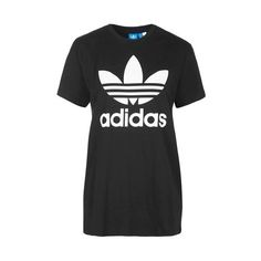 Trefoil Tee by Adidas Originals (€24) ❤ liked on Polyvore featuring tops, t-shirts, black, cotton t shirts, topshop tops, cotton tee, trefoil t shirt and adidas trefoil tee