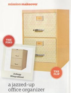 HGTV Magazine flipped a dingy file cabinet with Chic Shelf Paper and paint. Get the complete how-to on our blog.
