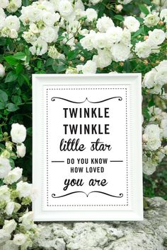 """A3 Cute Quote Prints for Baby Nursery or Gift for New Baby - """"Twinkle Twinkle"""". £15.00, via Etsy."""