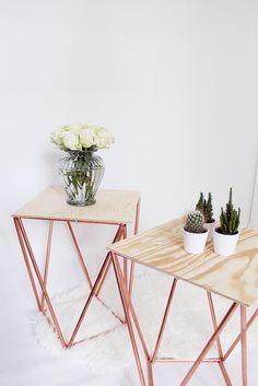 Stylishes DIY: Beistelltisch aus Kupfer Selber Bauen