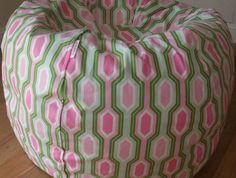 Pink Green Little Kids Ball Shaped Bean Bag Chair COVER ONLY