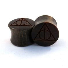 "Deathly Hallows Lignum Vitae Plugs 2g (6.5mm) through 1 3/4"" (44mm) including 0g 8mm 00g 9mm 10 mm 7/16"" 1/2"" 9/16"" 5/8"" 11/16"" Ear Gauges"