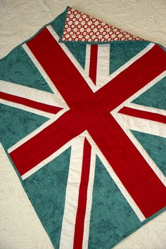 Baby Quilt  British Flag  Teal and Red  English by HouseofdeVeer