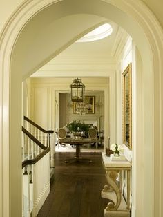 Colonial Residence, Greenwich Foyer Staircase Dining Architectural Detail Design Detail TraditionalNeoclassical by Harrison Design Traditional Architecture, Veranda Magazine, Home, Entry Foyer, Foyer Decorating, Foyer Staircase, Great Rooms, Colonial Style, Classic House