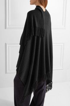 Joseph - Fringed Cashmere Wrap - Black - x small