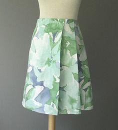 Linen Print Side Pleat Skirt