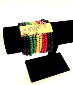 Rasta style cuff bracelet.