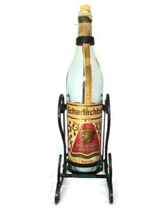 Scharlachberg Vintage Wrought Iron Wine Rack, Liquor Bottle Stand Pourer, Rare Unique Bar Essential, Vintage Home Decor