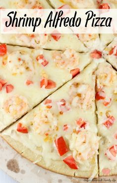 Shrimp Alfredo Pizza is a quick and easy dinner. This shrimp pizza is ready in less than 30 minutes and contains just seven ingredients: premade pizza crust, alfredo sauce, @seapak shrimp scampi, olive oil, roma tomato, garlic and mozzarella cheese.  #sponsored - Shrimp Alfredo Pizza Recipe on Sugar, Spice and Family Life