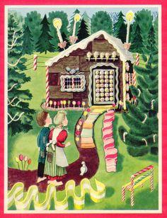 vintage kids Hansel Gretel gingerbread house forests cakes lollipops candy canes ice cream sour power belts sweets candles fairy tales peppermints fabric by raveneve on Spoonflower - custom fabric Hansel Y Gretel, Lantern Designs, Candy House, Ad Art, Little Golden Books, Vintage Children, Spoonflower, Illustrators, Art For Kids