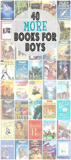 For even more great book lists for boys, visit my posts Books that will keep your son up reading at night and 40 Fiction Books for Boys. My original post, 40 Fiction Books for Boys, was so popular,… Kids Reading, Teaching Reading, Reading Lists, Learning, Reading Time, Good Books, Books To Read, My Books, Books For Boys
