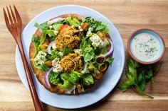 easy homemade falafel salad in a crispy pita bowl Falafel Salad, Baked Falafel, Easy Vegan Cheese Recipe, Lemon Tahini Dressing, Grilled Tofu, Homemade Bagels, Cooking With Olive Oil