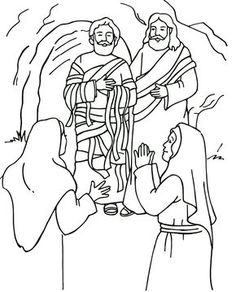 Resurrection of Lazarus, Bible coloring page.