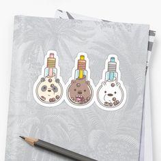 'The Bear Bubble Tea, We Bare Bears Fan Art ' Sticker by Miri-Noristudio We Bare Bears, Bubble Tea, Sticker Design, Sell Your Art, Finding Yourself, Bubbles, Fan Art, Artists, Stickers
