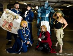 - Alphonse Elric: Otaku and Fit - Andrew's Cosplay/Fitness/Otaku Life - Edward Elric: Bekalou Cosplay - Riza Hawkeye: Blue Cosplay - Roy Mustang: Athena Marid Cosplay - Winry Rockbell: Yukari Kaiba Cosplay - Maes Hughes: Chase Bunnies Photo by BlizzardTerrak Photography