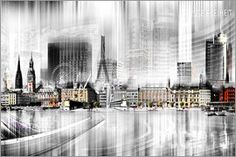 Nettesart - Hamburg Skyline SW Abstrakte Collage