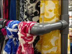 A boutique headquartered in a reclaimed factory plays off the industrial theme with a hanging version of PVC Pipe Hosts Scarf Knots. Scarf Rack, Scarf Display, Retail Fixtures, Scarf Knots, How To Wear Scarves, Pvc Pipe, Scarf Styles, Home Projects, Diy Crafts