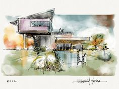 Hand-Drawing-In-Architecture drawings-sketches mimari, tasar Perspective Architecture, Architecture Tumblr, Architecture Design, Watercolor Architecture, Architecture Drawings, Landscape Architecture, Residential Architecture, Concept Art Landscape, Landscape Design
