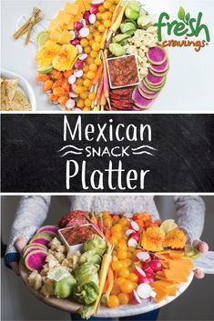 Impress your guests with a Mexican and Spanish-inspired spread of meat, cheese, fresh vegetables, and fruit alongside chips and salsa. Party Platters, Food Platters, Mexican Snacks, Mexican Dishes, Mexican Food Recipes, Healthy Snacks, Healthy Eating, Healthy Recipes, Fruit Snacks