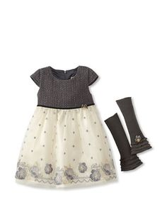 56% OFF Blumarine Girl's Dress with Floral Bottom (Gray)