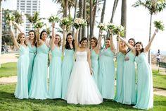 Mint bridesmaid dresses from David's Bridal for a Jewish Wedding at the Fairmont Miramar in Santa Monica, California. #DBMaids