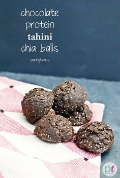 Chocolate Tahini Chia Balls: Craving dessert before dinner? These no-bake chocolate tahini chia balls curb sugar cravings and hunger at the same time.