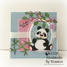 Handmade card by Rimmie with Collectables Eline's Panda & Bear (COL1409), Craftables Box Card (CR1374) and Basic Oval (CR1333) from Marianne Design