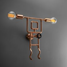 Fun design wall lamp in many colors and metal finishes. A pipe guy lamp with creative knob dimmer and two vintage bulbs. Available in Zapalgo online store. Copper Decor, Copper And Brass, Loft Lighting, Porch Lighting, Bedside Lamps Rustic, Copper Furniture, Lampe Tube, Brass Sconce, Lamp Cord