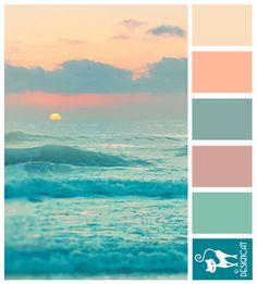 Ocean Sun - Teal, Blue, tiffany, Pink, Peach, blush - Designcat Colour…