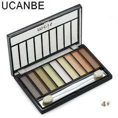 9 colores de Moda de maquillaje de sombra de ojos profesional del color brillante de larga duración desnudo shimmer sombra de ojos paleta con el cepillo