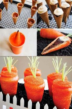 Easter Carrot Cupcakes Recipes, Easter DIY Tutorial: Carrot Shaped Cupcakes, Easter Food ideas, Easter table decorations by molly Cupcakes to look like carrots! A new twist on the cupcake in a ice cream cone. You will need cake batter for the cupcakes and Carrot Cupcake Recipe, Cupcake Recipes, Gourmet Cupcakes, Cupcake Cupcake, Dessert Recipes, Party Recipes, Dessert Ideas, Holiday Treats, Holiday Recipes