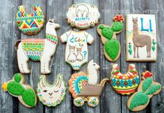 I saw a llama on a kid's Christmas tshirt. And somehow, that's all it takes around here to end up up to your eyeballs in llama cookies. At first, they were going to be llama Christmas… Baby Shower Parties, Baby Shower Themes, Baby Boy Shower, Baby Shower Decorations, Baby Party, Cute Cookies, Iced Cookies, Cupcake Cookies, Sugar Cookies