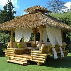 Backyard Gazebo, Backyard Patio Designs, Backyard Landscaping, Modern Gazebo, Bamboo House Design, Bamboo Building, Hut House, Bamboo Structure, Bamboo Architecture